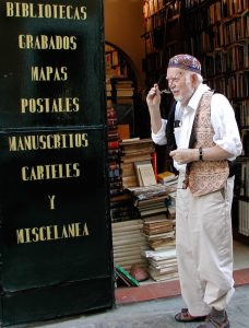 Zel at the book store in Sevilla, Spain